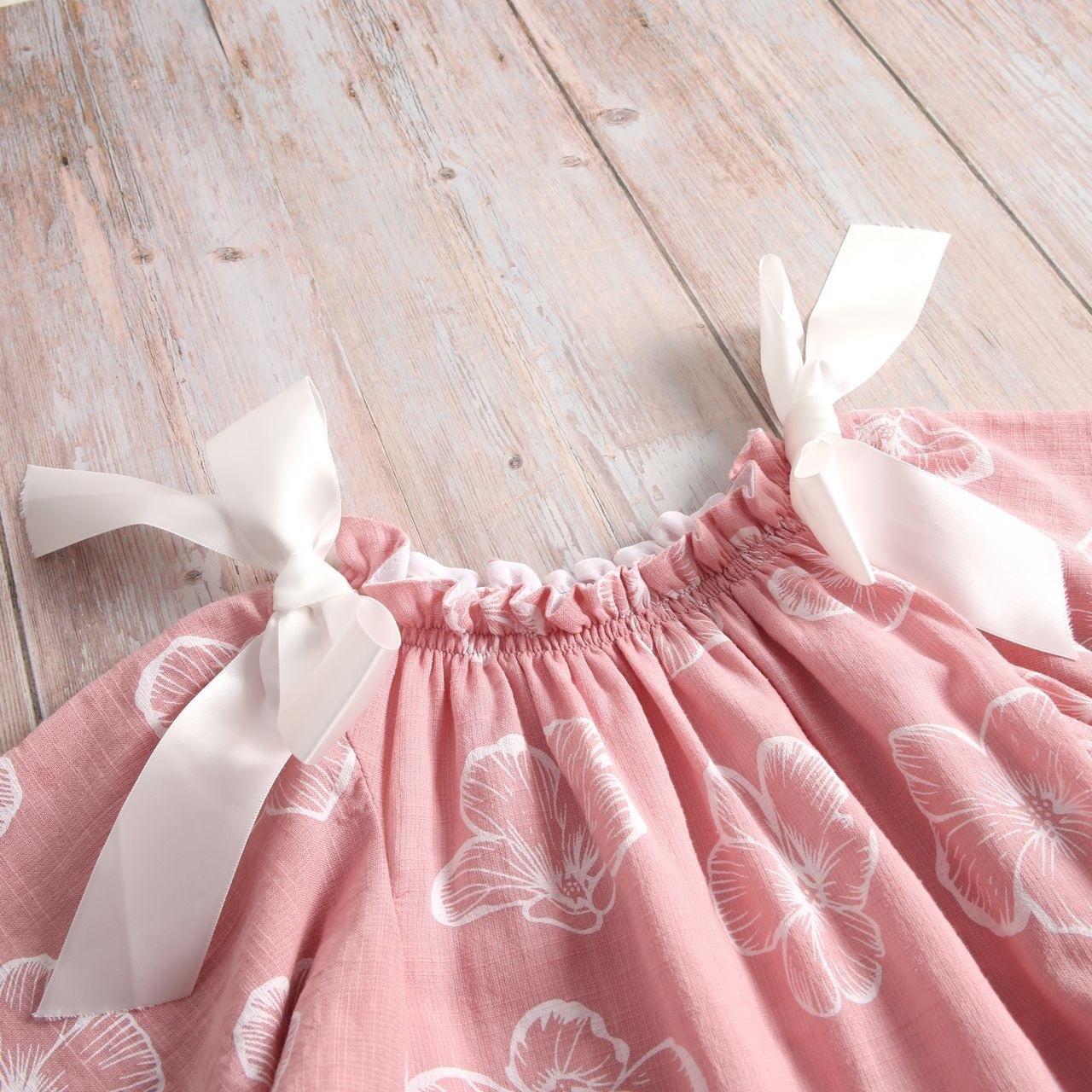 Image sur Vestido niña dalia rosa de flores con manga murciélago y lazos en hombro