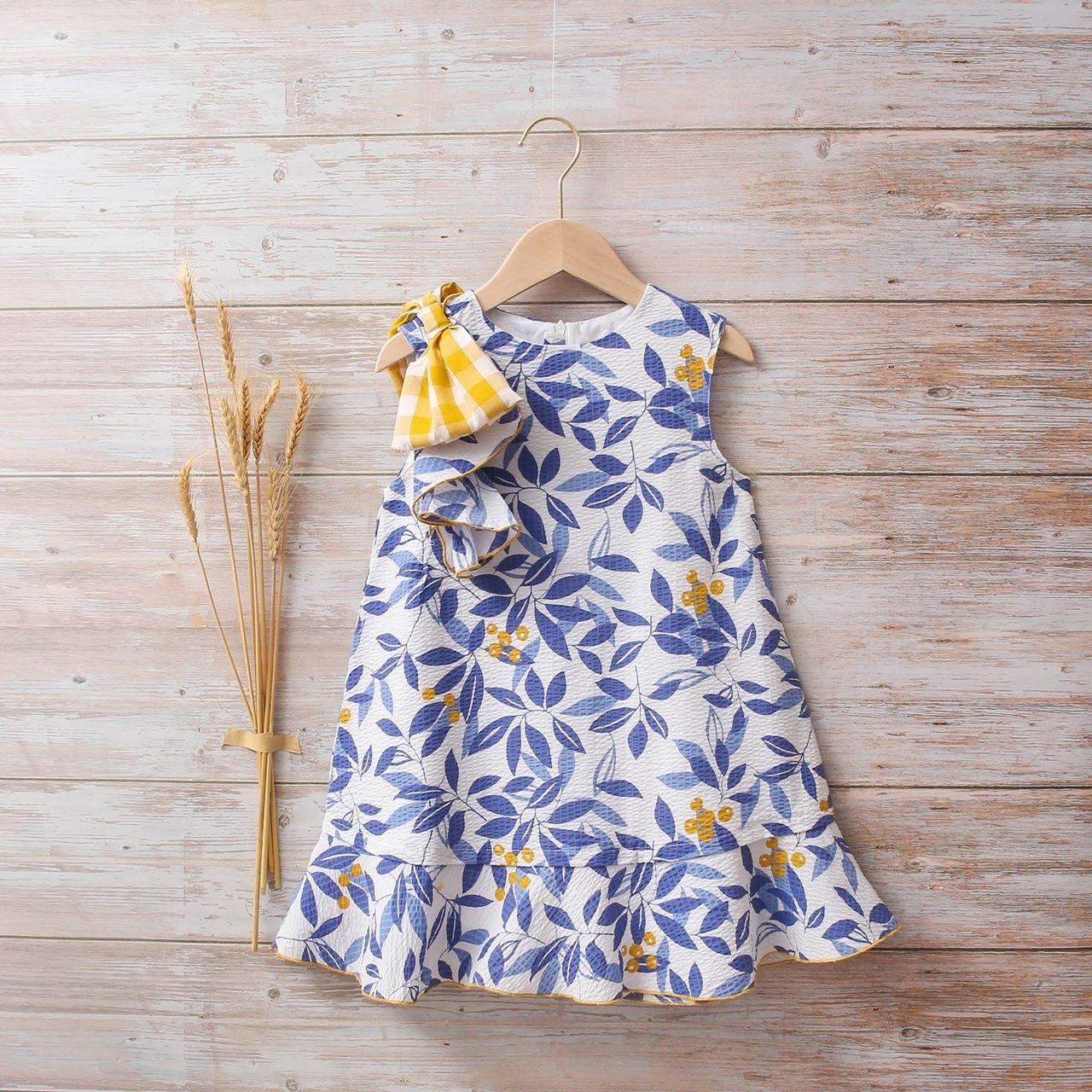 Picture of Vestido niña hojas azules