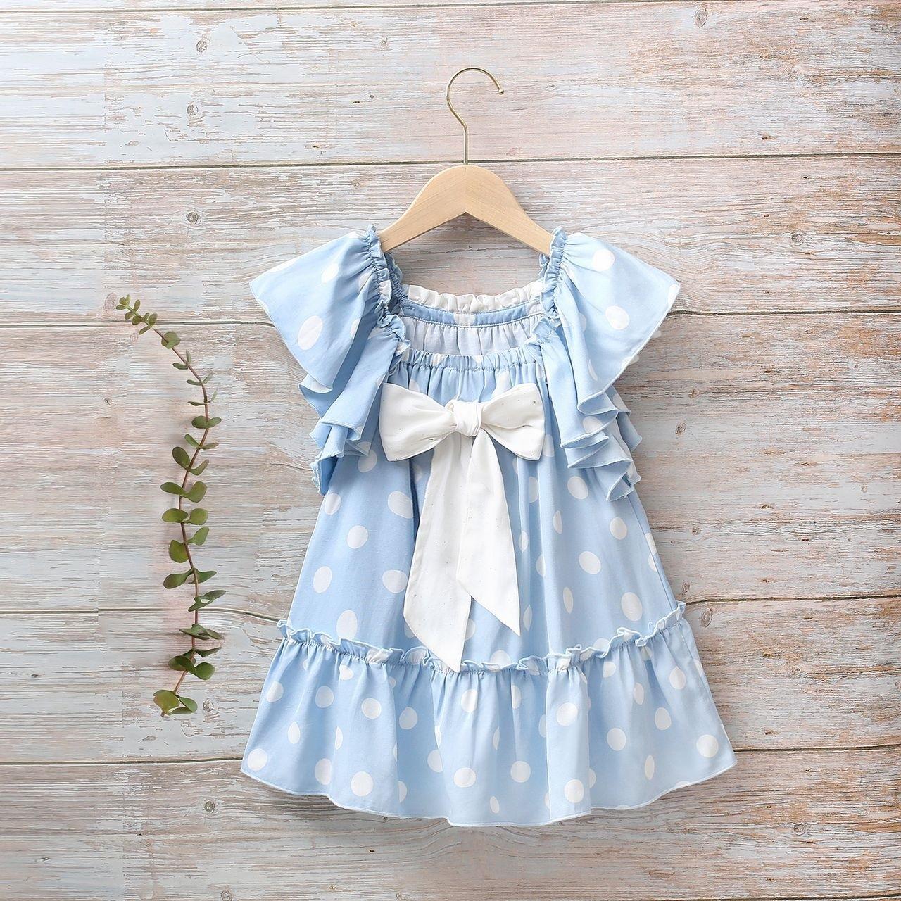 Image sur Vestido niña Hortensia de lunares con manga murciélago