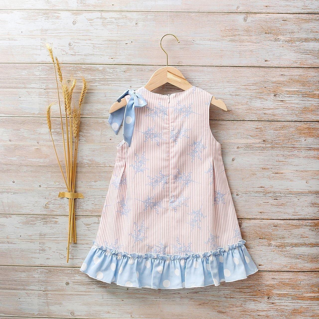 Imagen de Vestido niña Hortensia de rayas y lunares con lazo