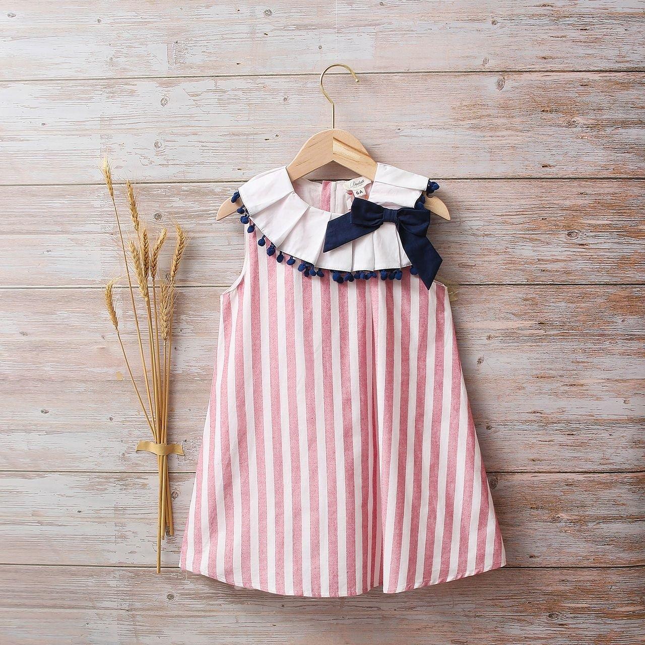 Picture of Vestido niña náutica de rayas rojo