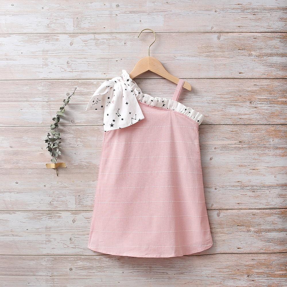 Image de Vestido niña rosa con lazo blanco de estrellas