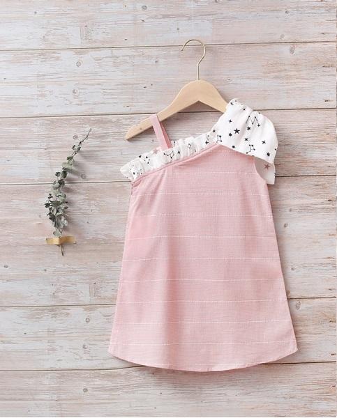 Picture of Vestido niña rosa con lazo blanco de estrellas