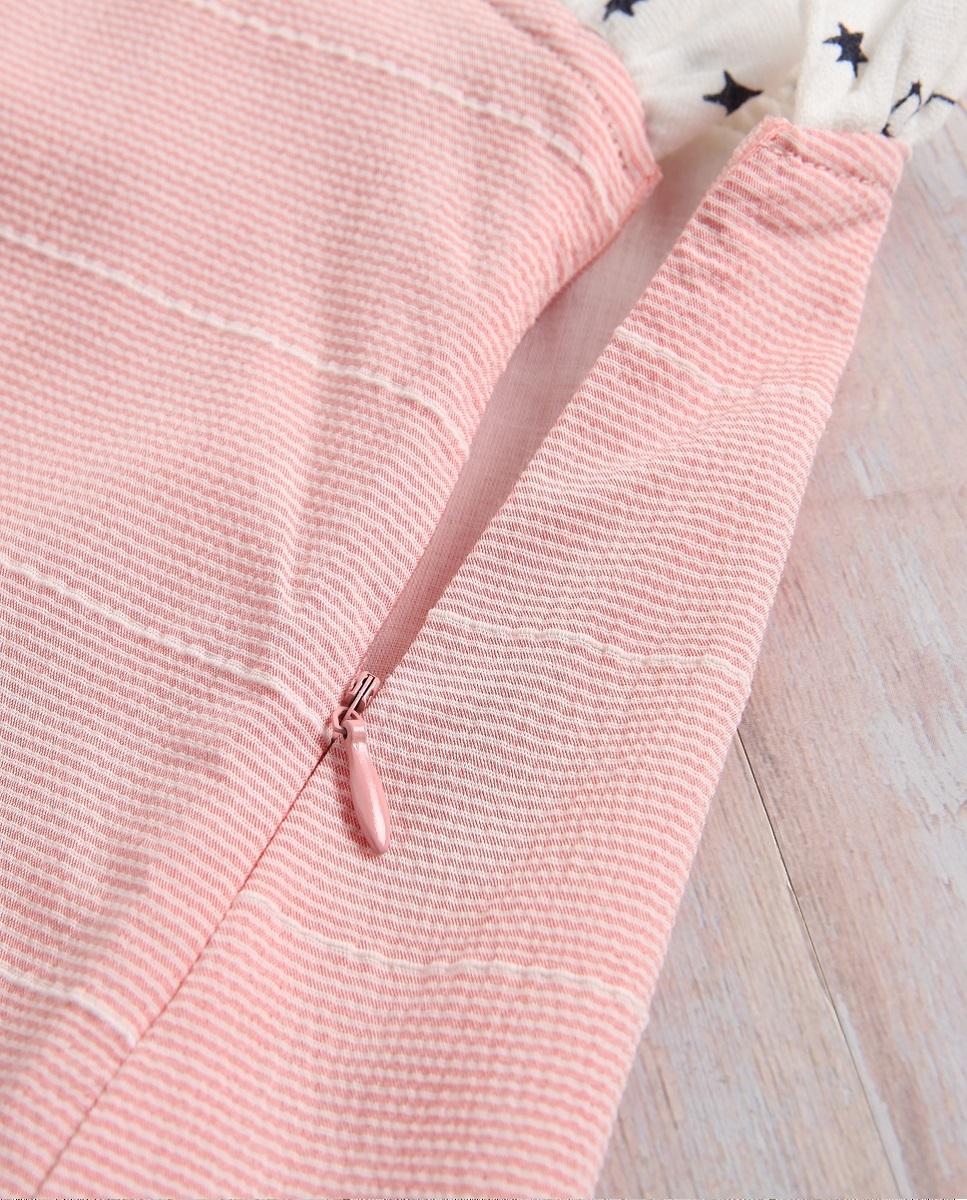 Image sur Vestido niña rosa con lazo blanco de estrellas