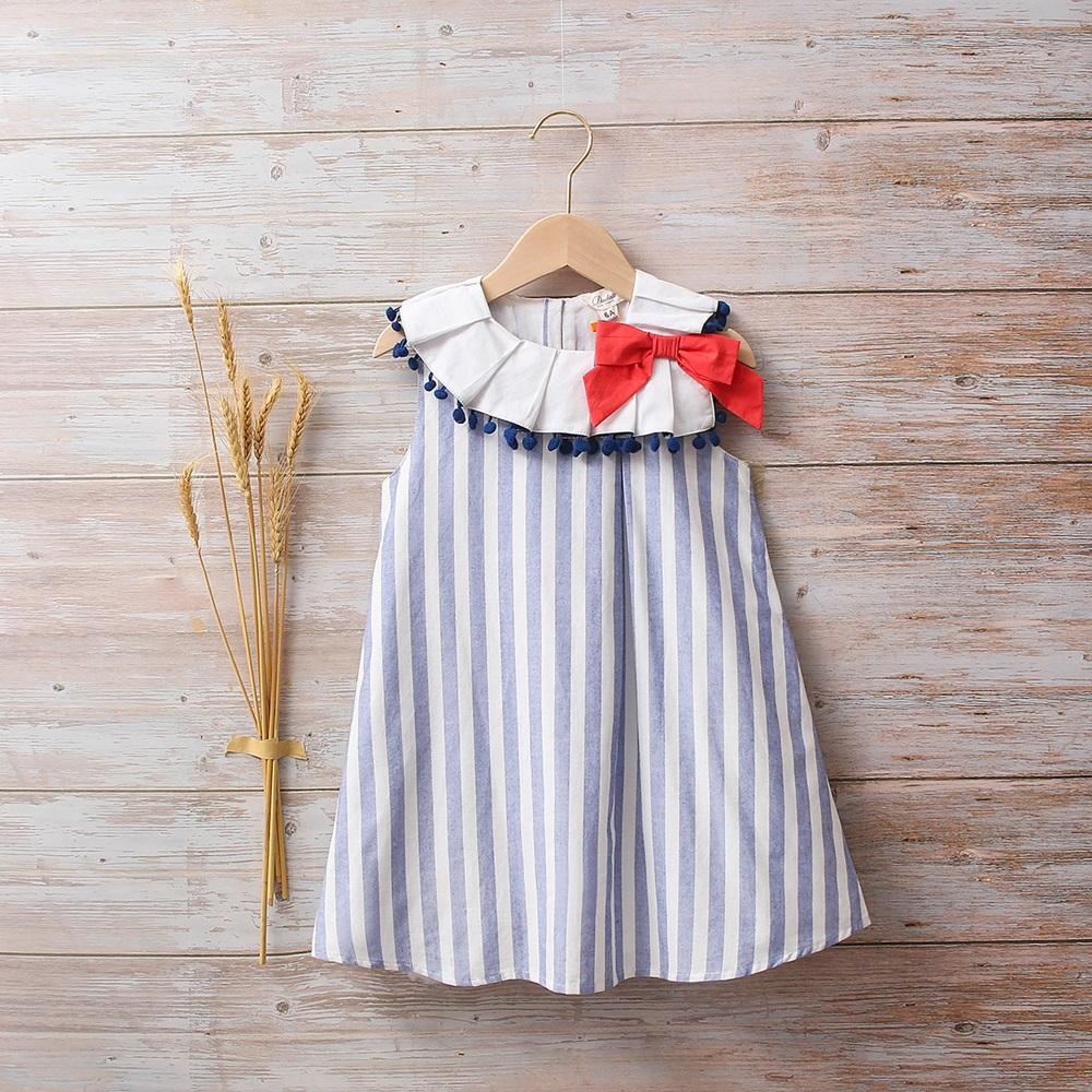 Picture of Vestido niña náutica de rayas azul