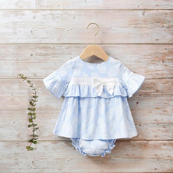 Image de Vestido bebé Paradise azul con hojas blancas
