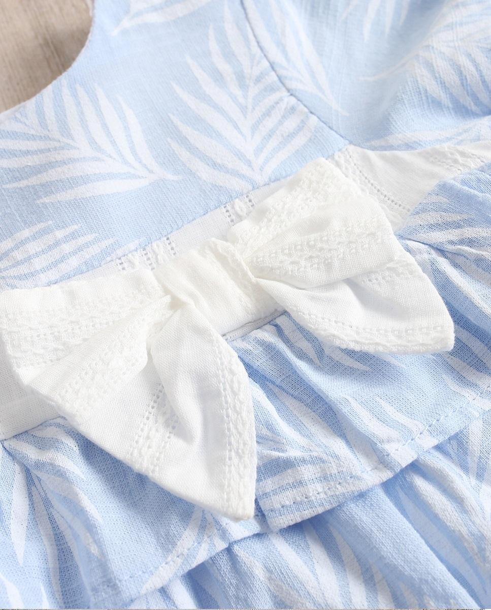 Imagen de Vestido bebé Paradise azul con hojas blancas