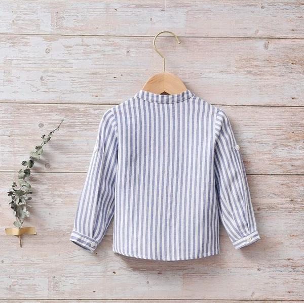 Image de Camisa bebé náutica de rayas azules y blancas
