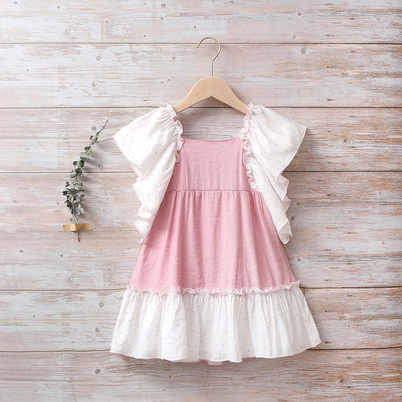 Image sur Vestido niña dalia rosa con mangas murciélago de estrellas