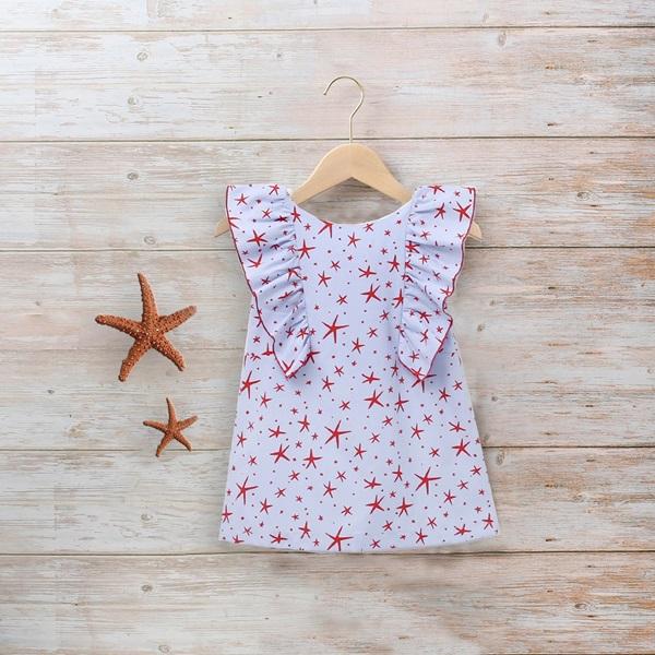 Imagen de Vestido azul niña estrellas de mar