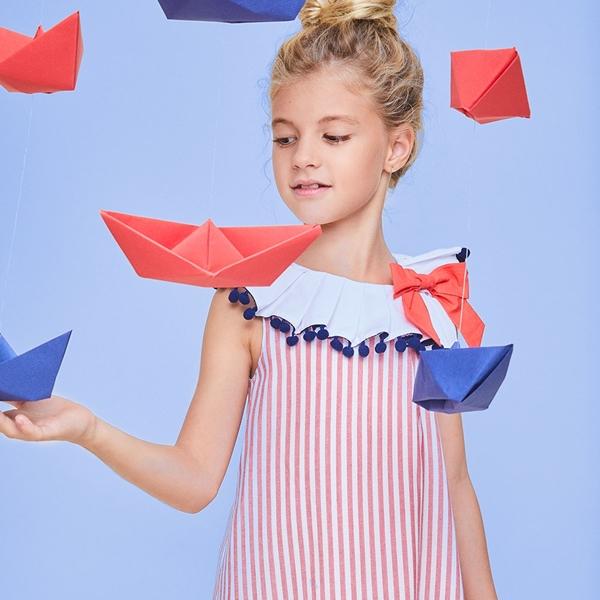 Imagen de Vestido niña náutica de rayas rojo