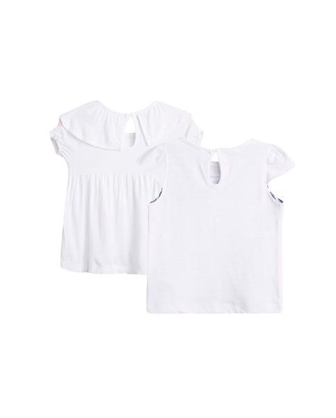 Imagen de Conjunto camisetas niña blanca con volantes y marinero