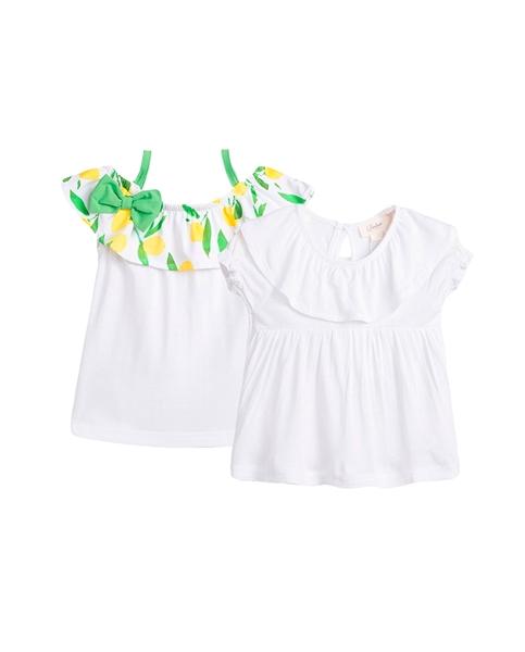 Imagen de Conjunto camisetas niña blanca con volantes y limonero