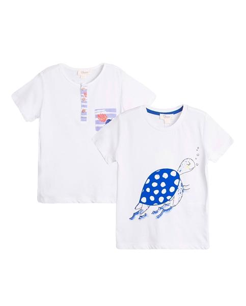 Imagen de Conjunto camisetas bebé niño con motivos tortuga y hojas