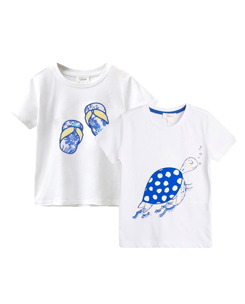 Imagen de Conjunto camisetas bebé niño con motivos tortuga y chanclas
