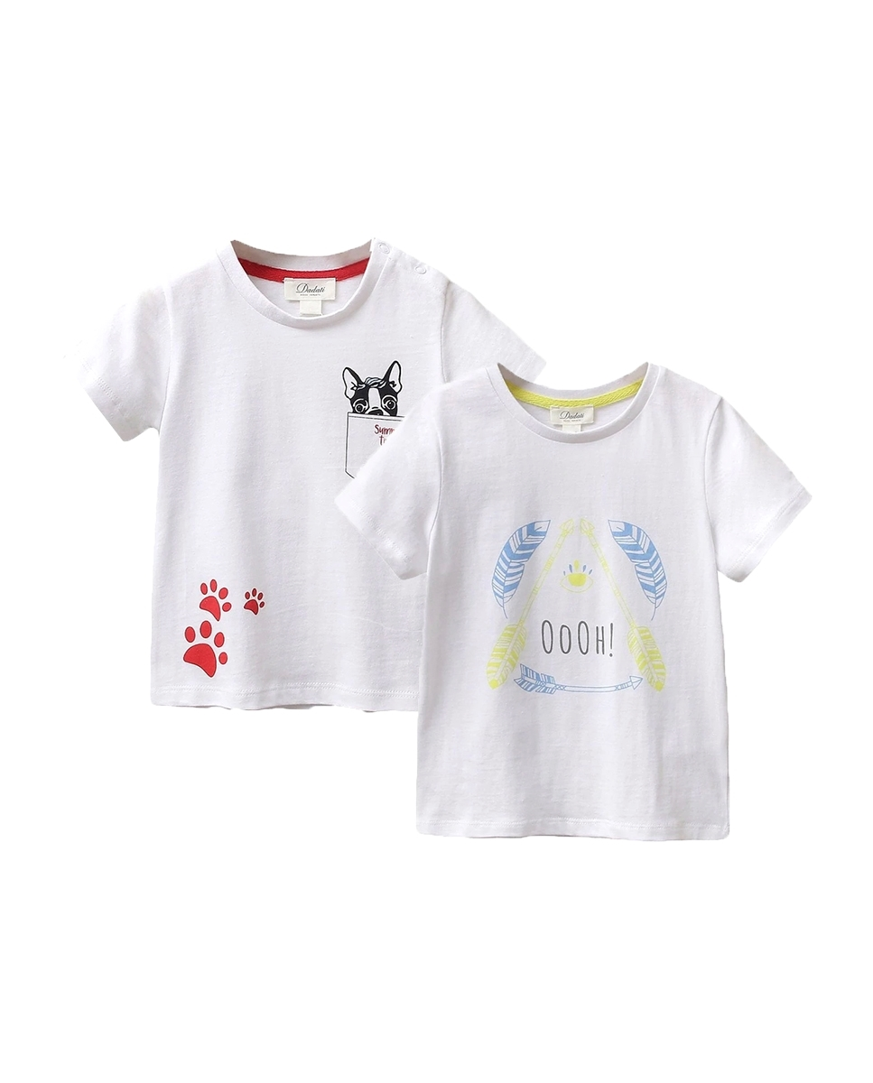 Imagen de Conjunto camisetas niño con motivos plumas y perrito.