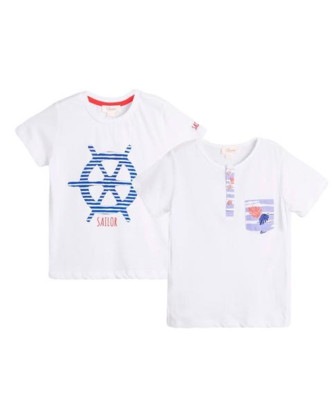 Picture of Conjunto camisetas niño con motivos timón y hojas