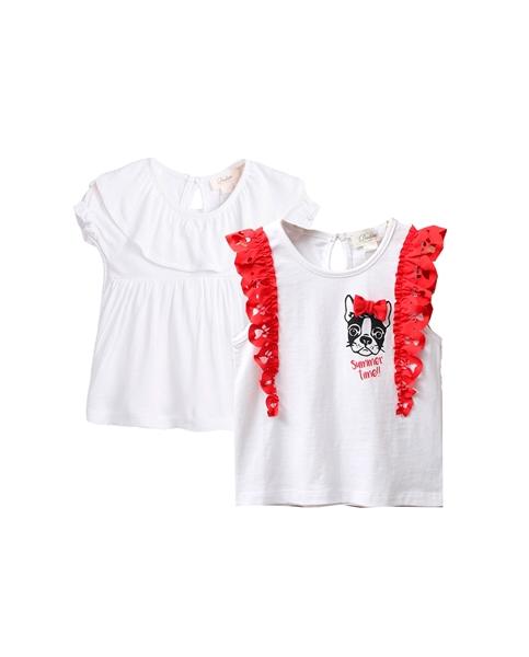 Imagen de Conjunto camisetas bebé niña con volantes rojos y perrito, y blanca con volante