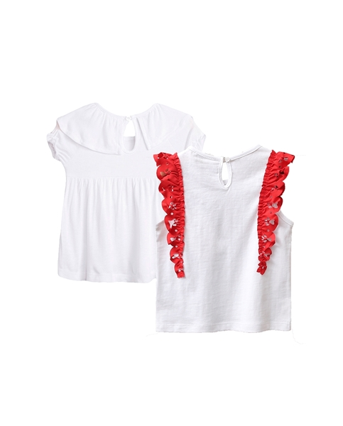 Picture of Conjunto camisetas bebé niña con volantes rojos y perrito, y blanca con volante