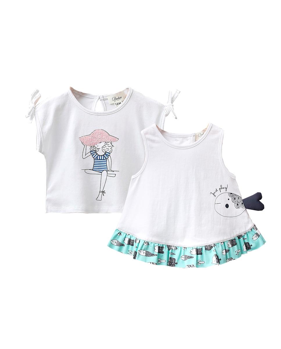 Imagen de Conjunto camisetas bebé niña blancas con motivo pez y niña con pamela