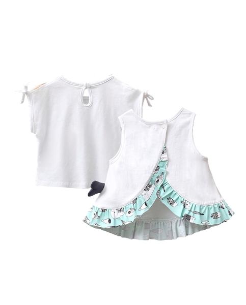 Picture of Conjunto camisetas bebé niña blancas con motivo pez y niña con pamela