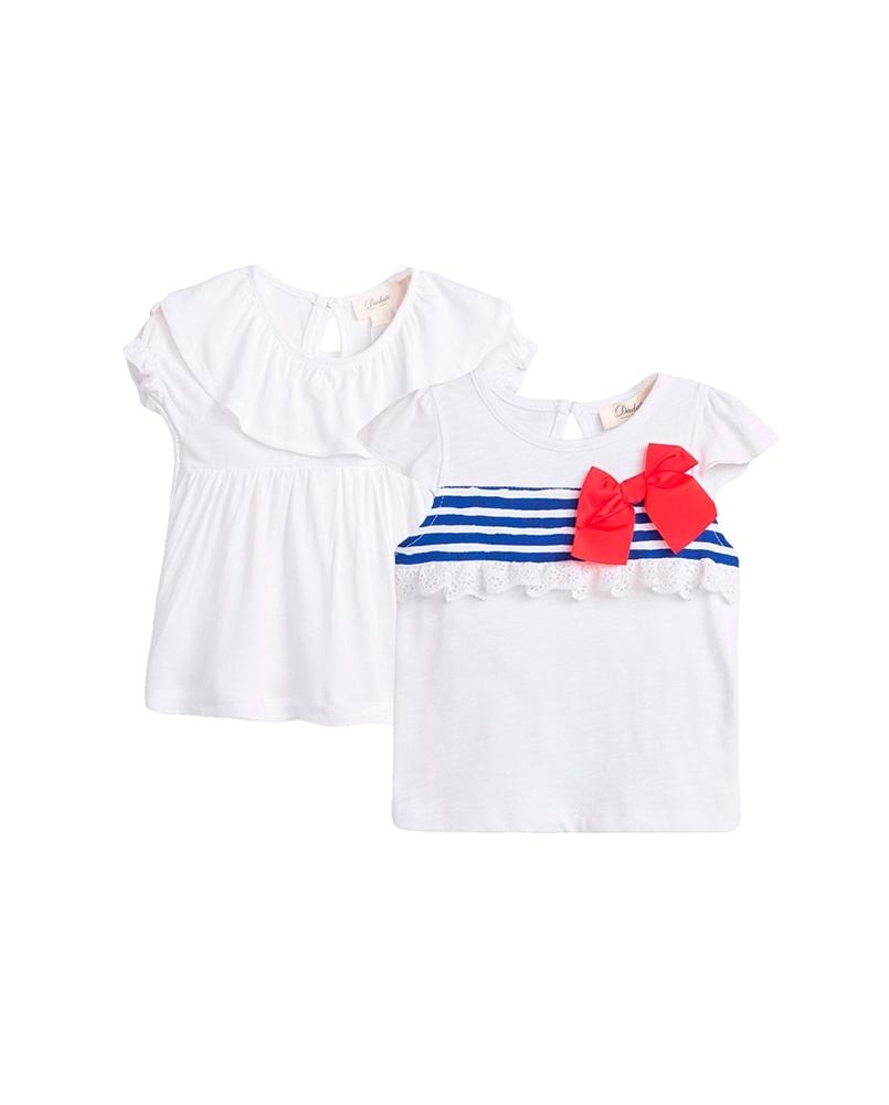 Imagen de Conjunto camisetas bebé niña blancas con franja marinera y lazo y volante en cuello