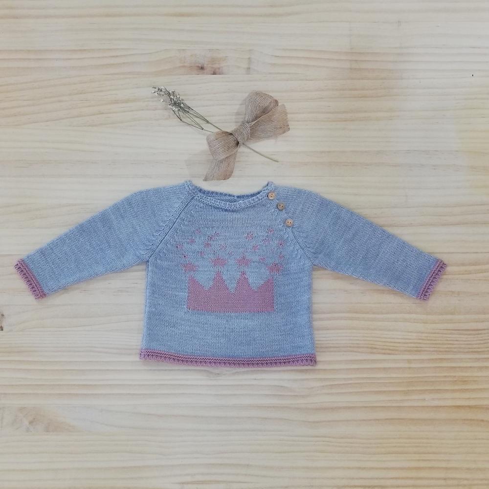 Imagen de Jersey baby gris corona rosa
