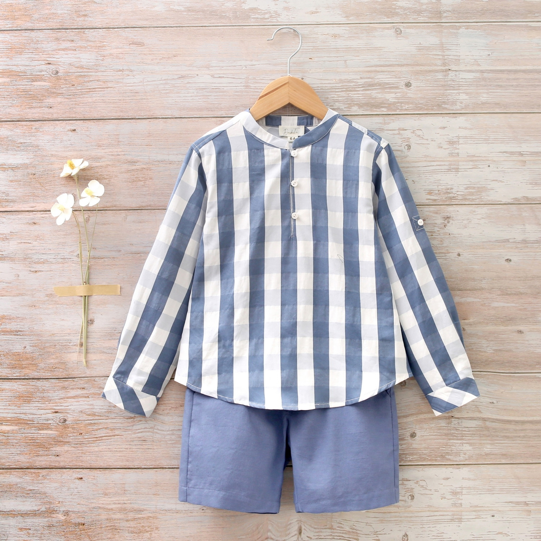 Imagen de Camisa niño con cuello mao de cuadros azul y blanco