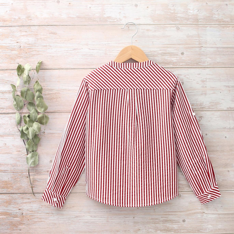 Imagen de Camisa niño cuello mao de rayas granate y blanca