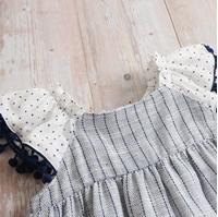 Imagen de Vestido bebe porcelana tirantes con bolitas azules
