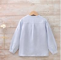 Imagen de Camisa niño lino azul cuello mao