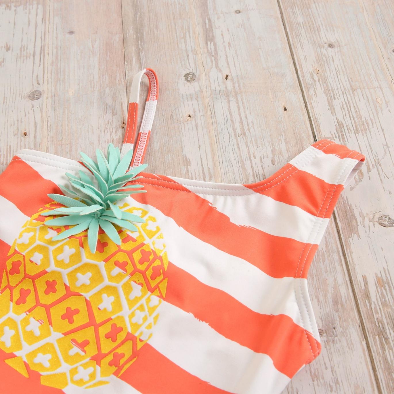 Imagen de Bañador niña lycra rayas coral ananas estampado glitter piña