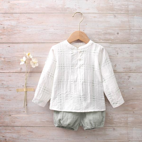Imagen de Conjunto bebé de camisa y bermudas de cuadros verdes