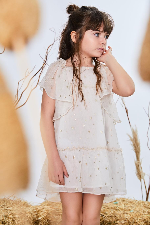 Imagen de Vestido niña Romance ceremonia gasa plisada estrellas doradas