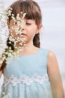 Imagen de Vestido niña freesia ceremonia verde con tul