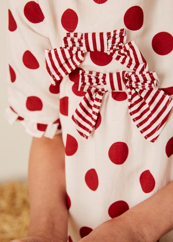 Imagen de Vestido niña de manga corta de lunares con lazos decorativos rayas granate
