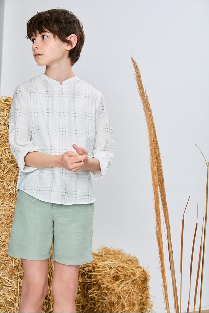 Imagen de Camisa niño manzana de cuadros verdes