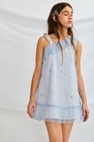 Imagen de Vestido niña ceremonia cuerpo tul azul con lentejuelas plateadas