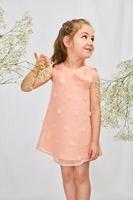 Imagen de Vestido bebé rosa tejido bordado pompones con maxi lazo