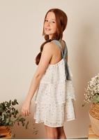 Imagen de Vestido niña con capas y estrellas blanco y verde