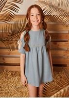 Imagen de vestido niña azul tejido rustico bordado en cintura dorado