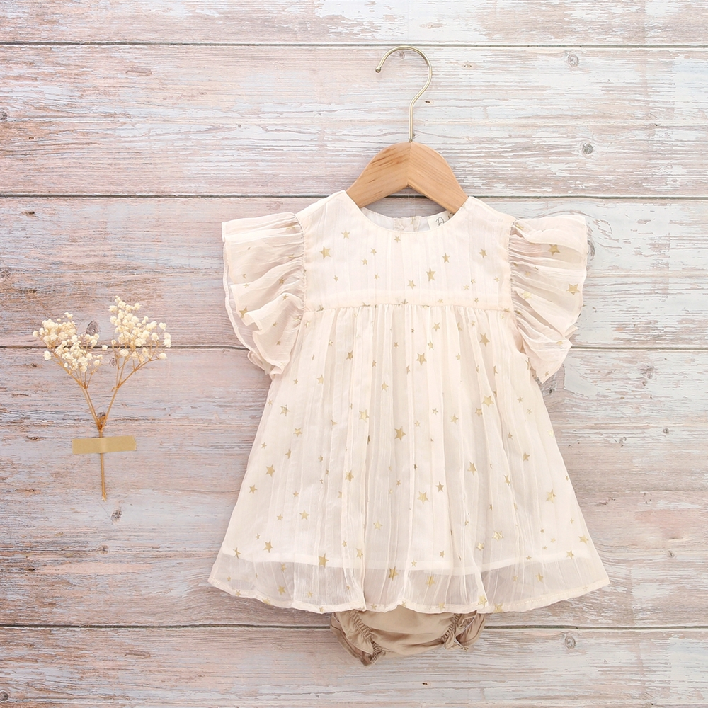 Imagen de Vestido bebe Romance ceremonia gasa plisada estrellas doradas