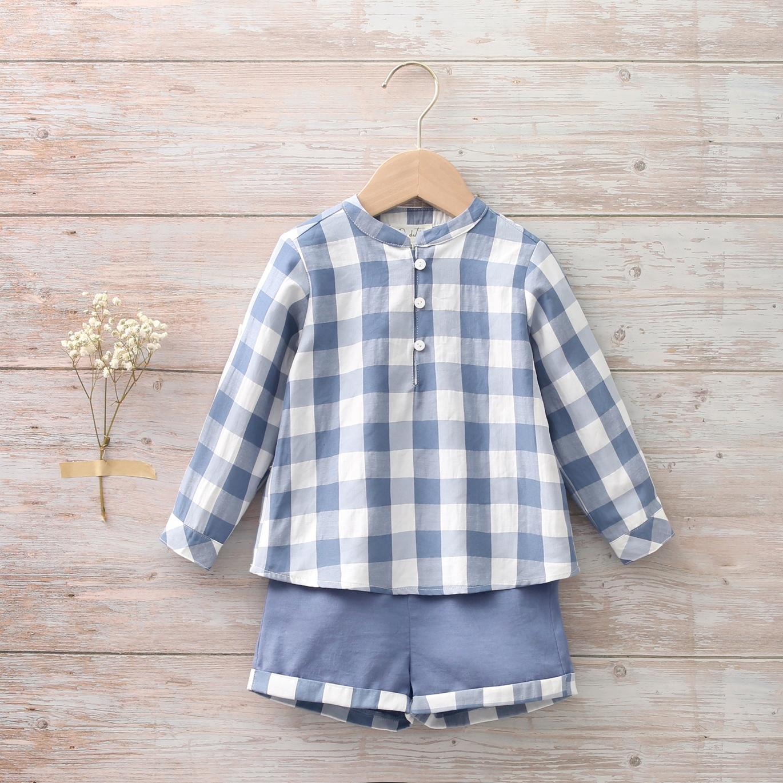 Imagen de Conjunto bebé de camisa y bermudas de cuadros azul blanco