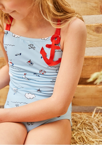 Imagen de Bañador niña con estampado pirata azul y rojo