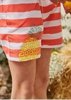Imagen de Bermuda niño bañadpr rayas coral ananas estampado glitter piña