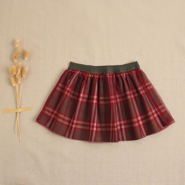 Imagen de Falda de niña cuadros verde-granate escoceses con tul