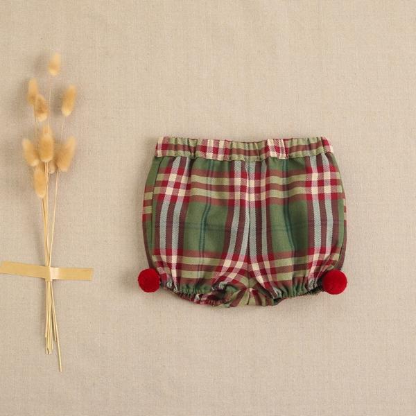 Imagen de Pololo de bebé cuadros verde-granate escoceses