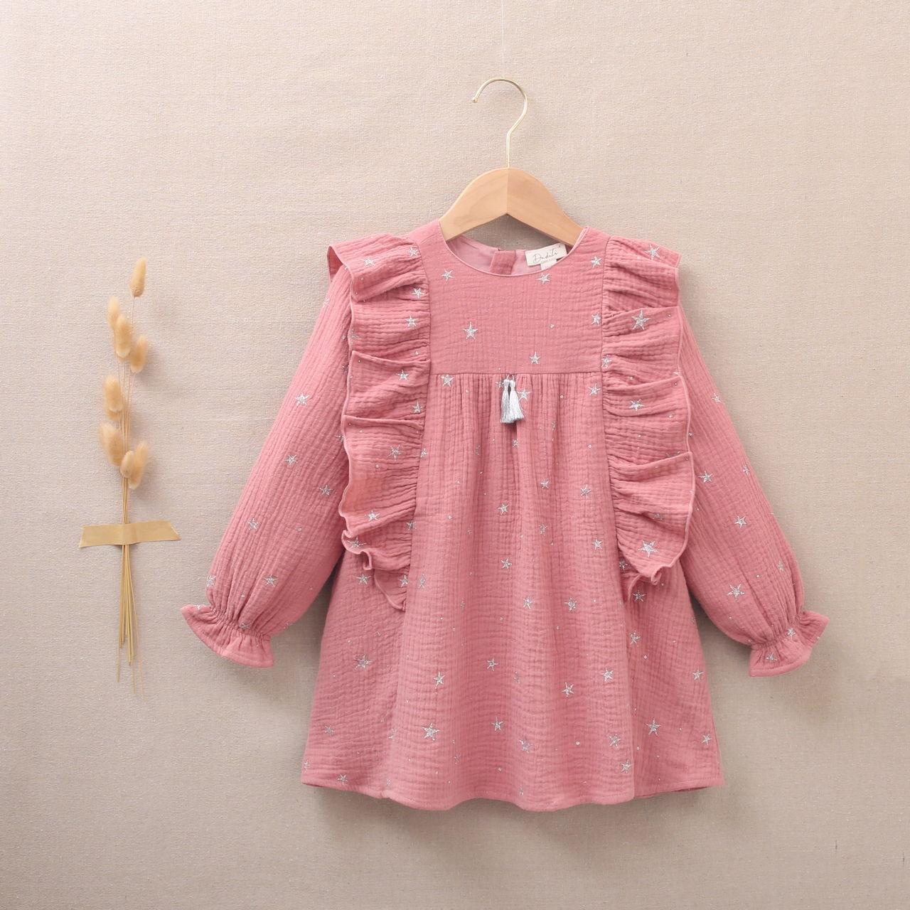 Imagen de Vestido de niña rosa con estrellas plateadas