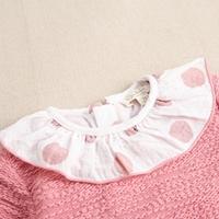 Imagen de Vestido de niña rosa felpa textura combinado con lunares