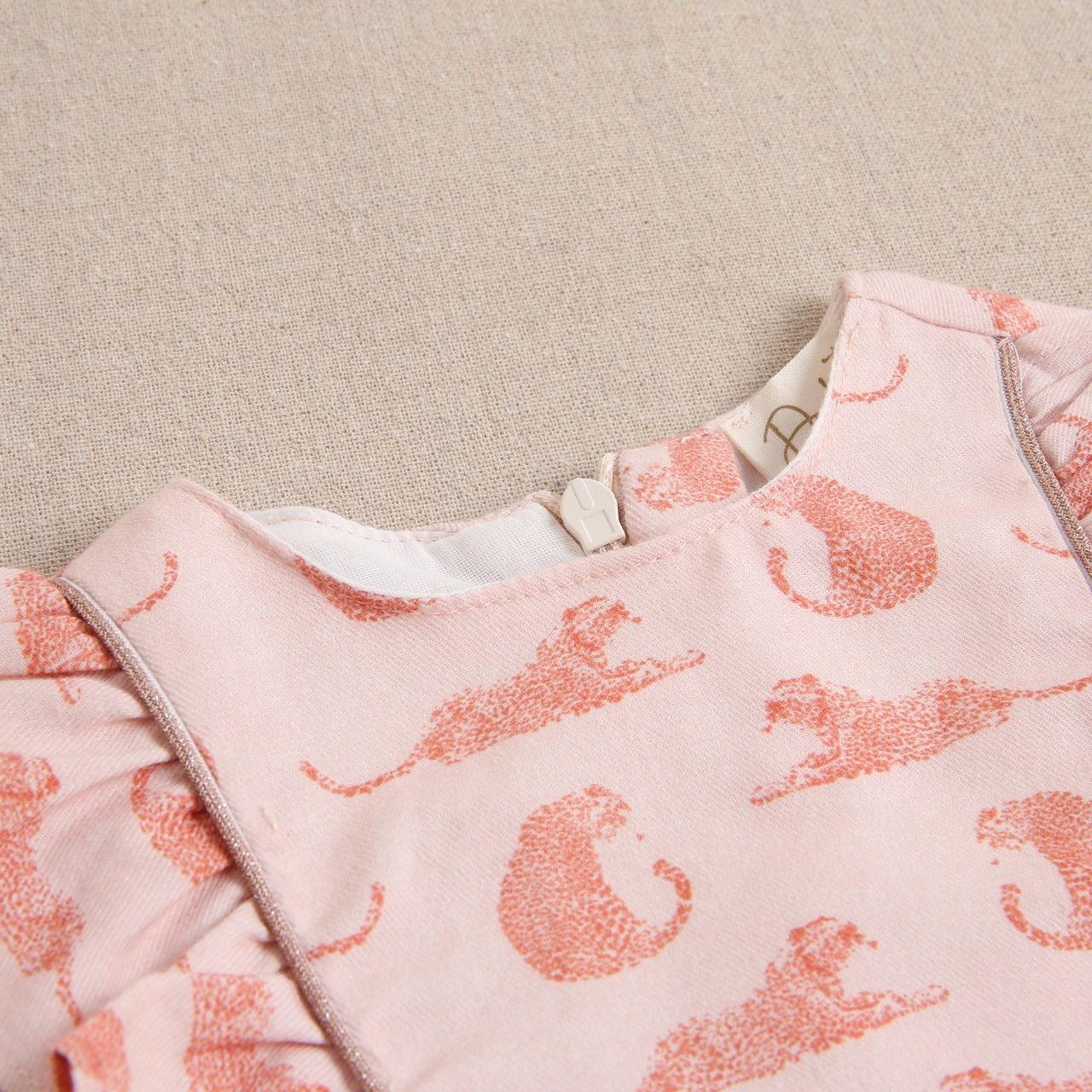 Imagen de Vestido de bebé niña rosa con estampado de leopardos